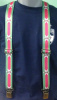 Pink & Green Wide Pin Striped Suspenders with Alta Logo