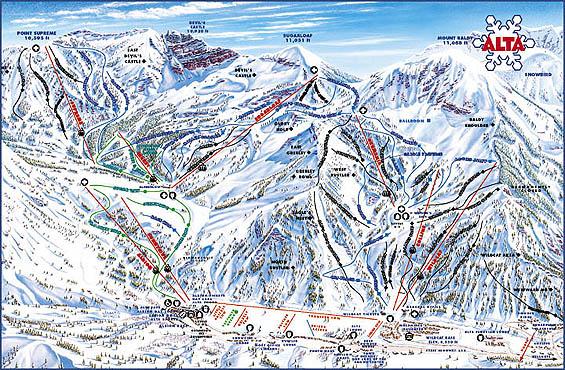 Alta Ski Area Trail Map Utah Ski Maps on