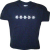 Kids T-Shirt with Multi-colored Alta Snowflakes, in navy and sport grey