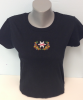 Black Women's T-Shirt with Alta Logo and Flowers